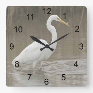 Great White Egret Square Wall Clock