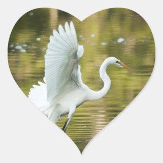 Great White Egret Heart Sticker