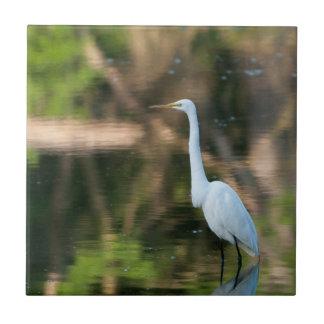 Great White Egret Ceramic Tile