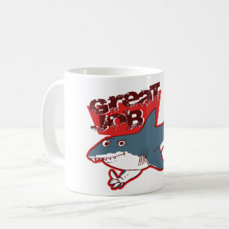 great white great job funny cartoon coffee mug