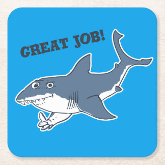 great white shark drink beverage coasters zazzle great white great job funny cartoon square paper coaster
