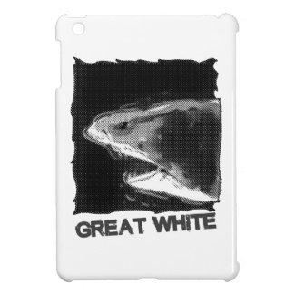 great white halftone grey cartoon with text iPad mini covers