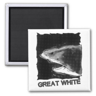 great white halftone grey cartoon with text magnet