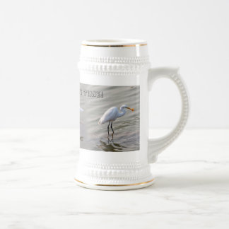 Great White Heron Catches a Fish Beer Stein