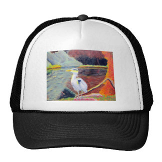 Great White Heron Impressionist Painting Hat