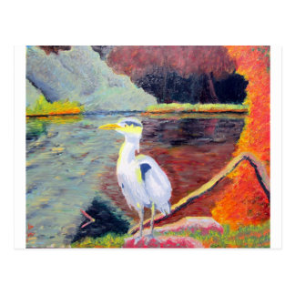Great White Heron Impressionist Painting Postcard