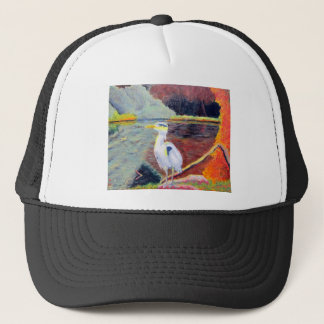 Great White Heron Impressionist Painting Trucker Hat