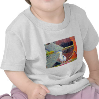 Great White Heron Impressionist Painting T-shirt