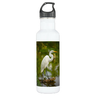 Great White Heron on a Log Photograph Stainless Steel Water Bottle