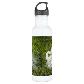 Great White Heron Pose Photograph Water Bottle