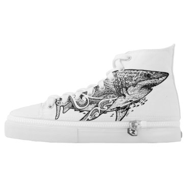 Beach Themed GREAT WHITE High-Top SNEAKERS
