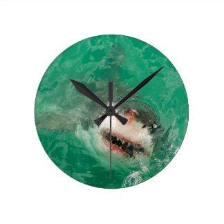 Great White Shark1 Round Clock
