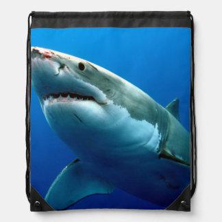GREAT WHITE SHARK 3 DRAWSTRING BAGS