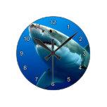 Great White Shark 3 Round Clock at Zazzle