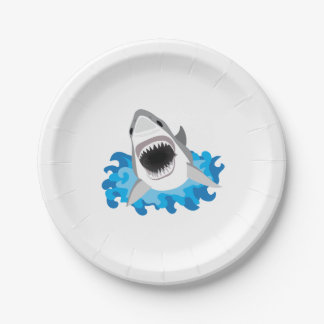 Great White Shark Attack Funny Paper Plate