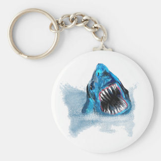 Great White Shark Attack Painting Basic Round Button Keychain