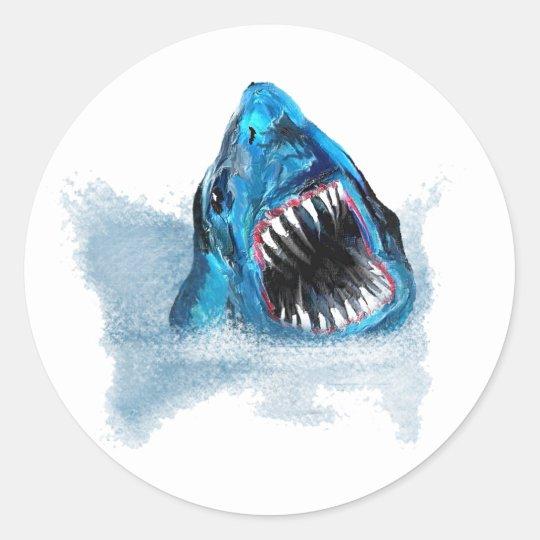 Great White Shark Attack Painting Classic Round Sticker