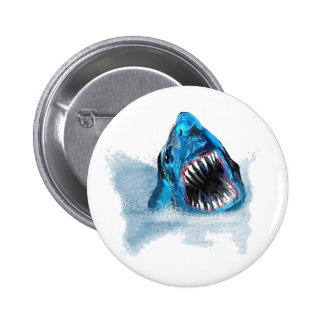 Great White Shark Attack Painting Pinback Button