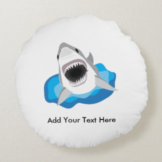 Great White Shark Attack Round Pillow