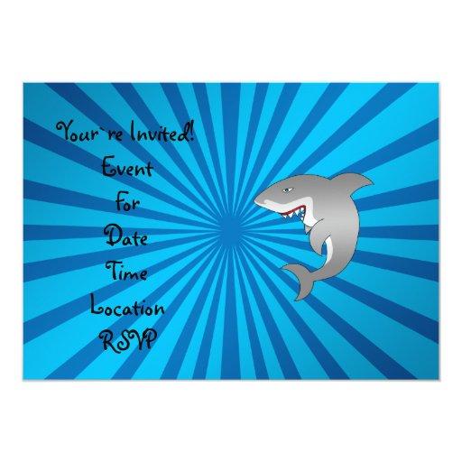Great white shark blue sunburst pattern 5x7 paper invitation card