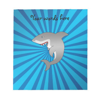 Great white shark blue sunburst pattern note pad