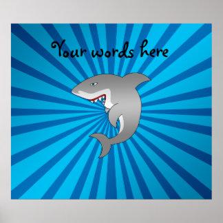 Great white shark blue sunburst pattern poster