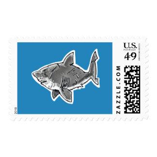 great white shark cartoon postage