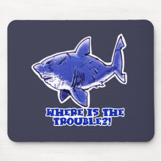 great white shark cartoon with text mouse pad