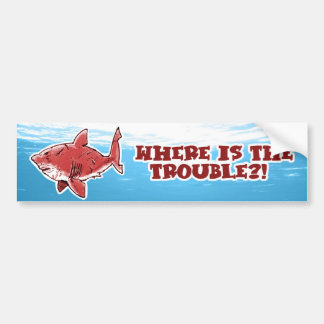 great white shark cartoon with text red tint bumper sticker