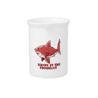 great white shark cartoon with text red tint pitcher