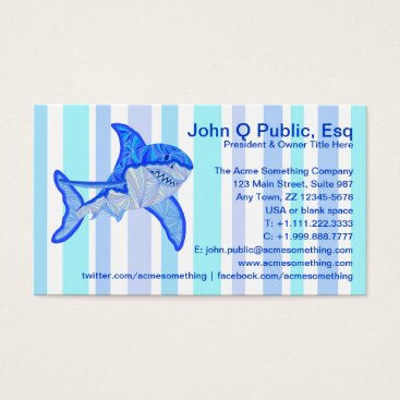 Beach Themed Great White Shark Colorful Sea Stripes Business Card