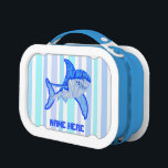 """Great White Shark Colorful Sea Stripes Lunch Box<br><div class=""""desc"""">Great White Shark Colorful Sea Animal Custom Personalized Lunch Box Lunch Pail. Background color can be customized What&#39;s the best week of the year? That&#39;s right... all shark geeks know the answer. A fun gift for the oceanographer, shark biologist, ichthyologist and marine biologists. Colorful Great White Shark art done in...</div>"""