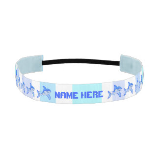 Great White Shark Colorful Sea Stripes Athletic Headbands