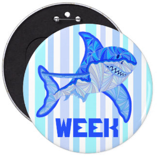 Great White Shark Colorful Sea Stripes Pinback Button