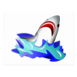 Great White Shark Coming Out of the Water Postcard