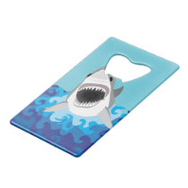 Great White Shark Funny Cartoon Credit Card Bottle Opener