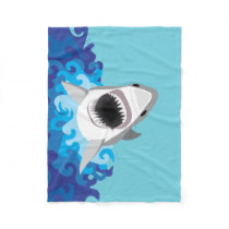 Great White Shark Funny Cartoon Fleece Blanket