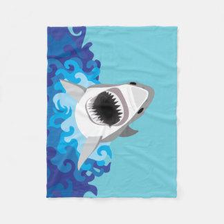 Great White Shark Funny Cartoon Fleece Blanket
