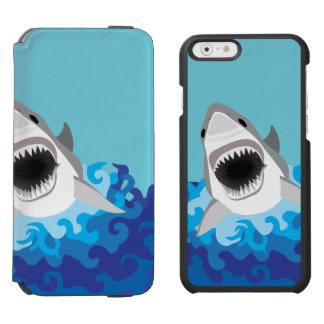 Great White Shark Funny Cartoon iPhone 6/6s Wallet Case