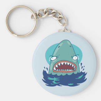 great white shark funny cartoon keychain