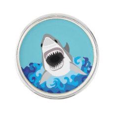 Great White Shark Funny Cartoon Pin