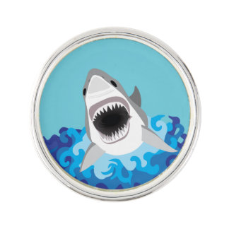 Great White Shark Funny Cartoon Pin