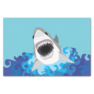 Great White Shark Funny Cartoon Tissue Paper