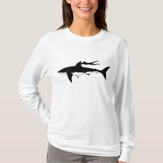 Great white shark gliding - on light background T-Shirt