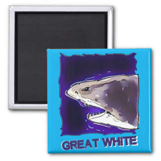 great white shark half body cartoon with text magnet