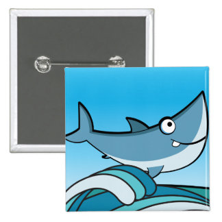 GREAT WHITE SHARK HAPPY CARTOON FISH FUN BLUE BUTTONS