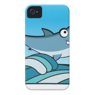 GREAT WHITE SHARK HAPPY CARTOON FISH FUN BLUE Case-Mate iPhone 4 CASE