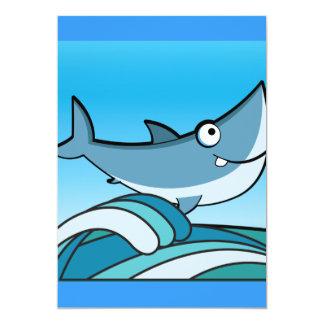 GREAT WHITE SHARK HAPPY CARTOON FISH FUN BLUE CUSTOM INVITATIONS