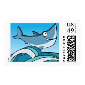 GREAT WHITE SHARK HAPPY CARTOON FISH FUN BLUE POSTAGE