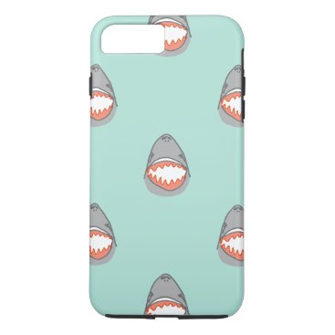 Beach Themed Great White Shark Heads in Grey w Aqua Ocean Water iPhone 7 Plus Case